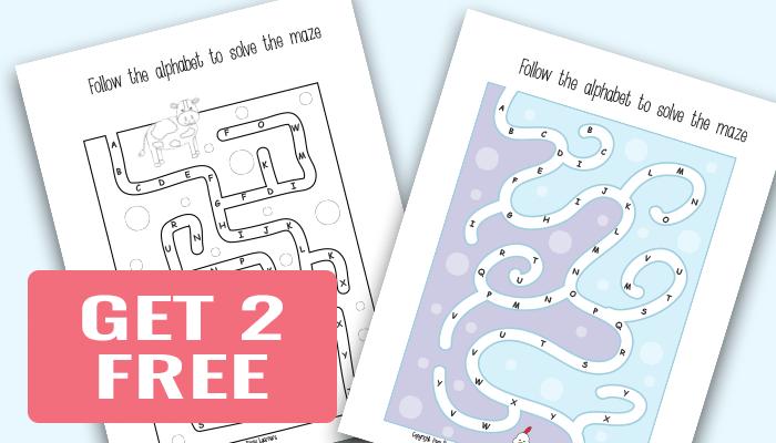 2 Free Alphabet Mazes