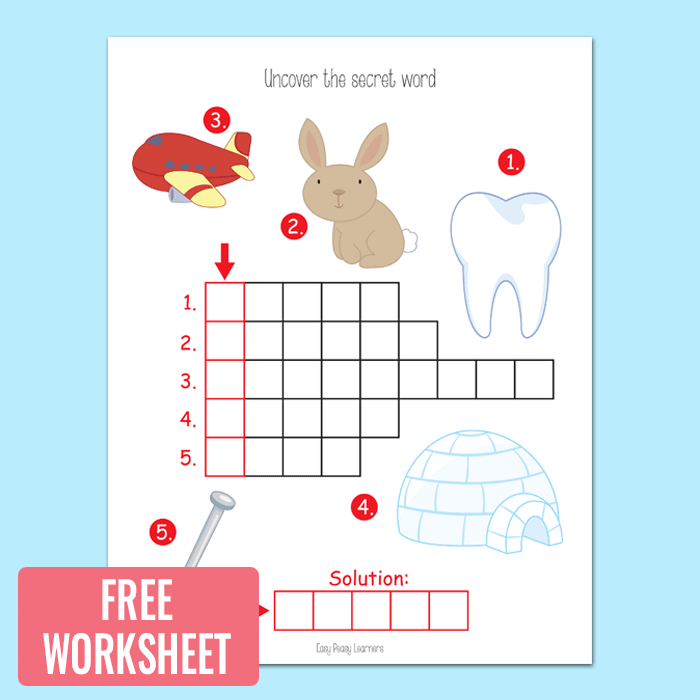 Picture Crossword Puzzles - Kindergarten and Grade 1 Worksheets ...