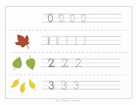 Fall Leaves Number Tracing Worksheets - Easy Peasy Learners