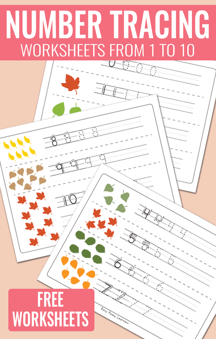Fall Leaves Number Tracing Worksheets