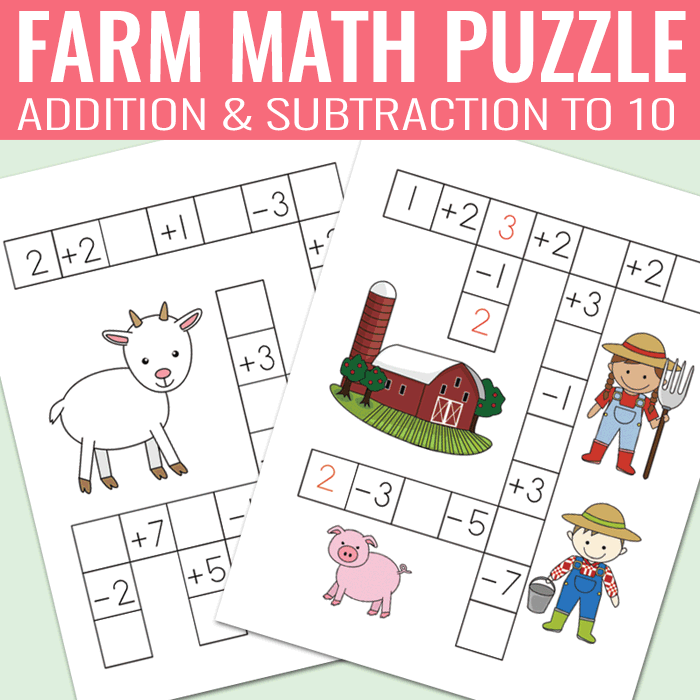 Farm Math Puzzles Addition And Subtraction Worksheets