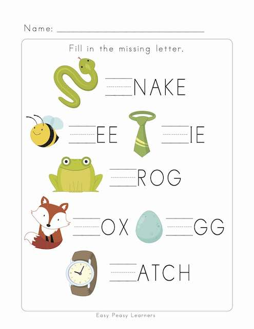 Fill In The Missing Letter Worksheets - Easy Peasy Learners