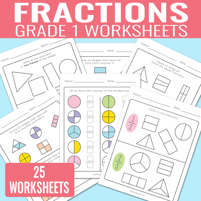 Fractions Worksheets for Grade 1 (Kindergarten and Grade 2)