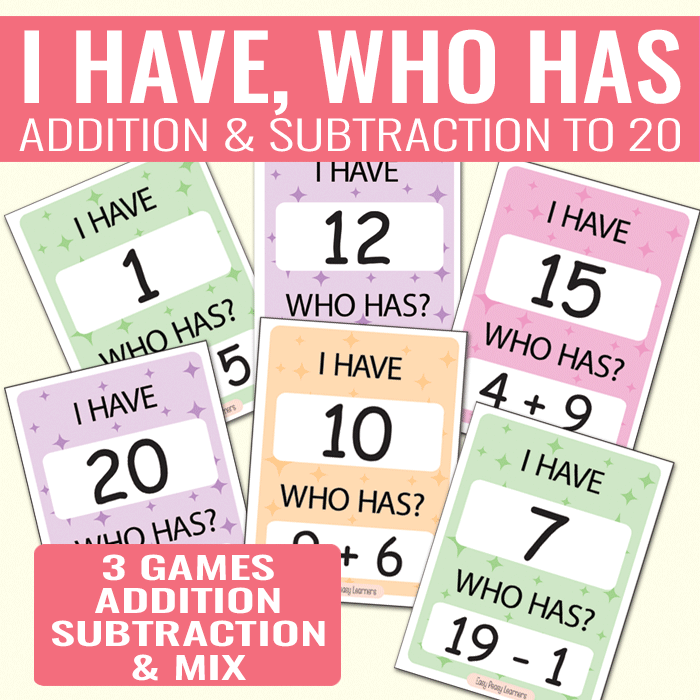 I Have Who Has Game Addition to 20, Subtraction to 20