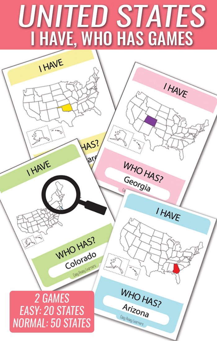 I Have Who Has United States Card Game - A Great addition or alternative to states worksheets