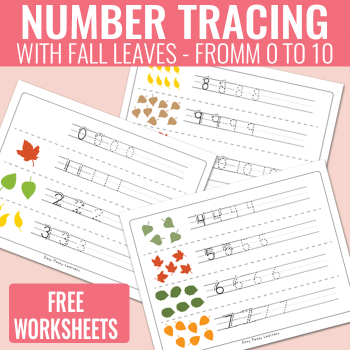 Number Tracing Worksheets With Fall Leaves