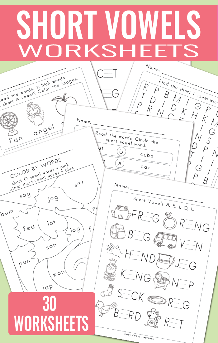 Printable Worksheets vowel worksheets for kindergarten : Short Vowels Worksheets - Short Vowel Sounds - Easy Peasy Learners