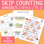 Skip Counting Worksheets from 2 to 12 (and backwards)