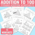 Pyramid Addition up to 100 Worksheets