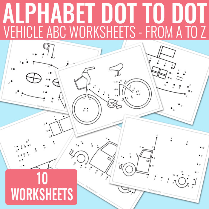 Vehicle Dot to Dot Alphabet Worksheets for Kids