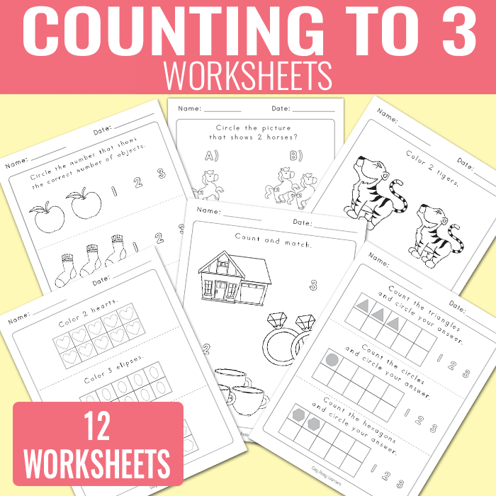 Counting to 3 Worksheets