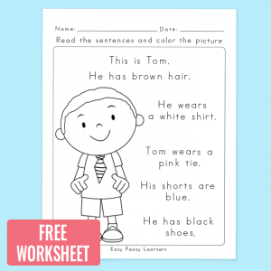 Free Read and Color Reading Comprehension Worksheet - Easy Peasy ...