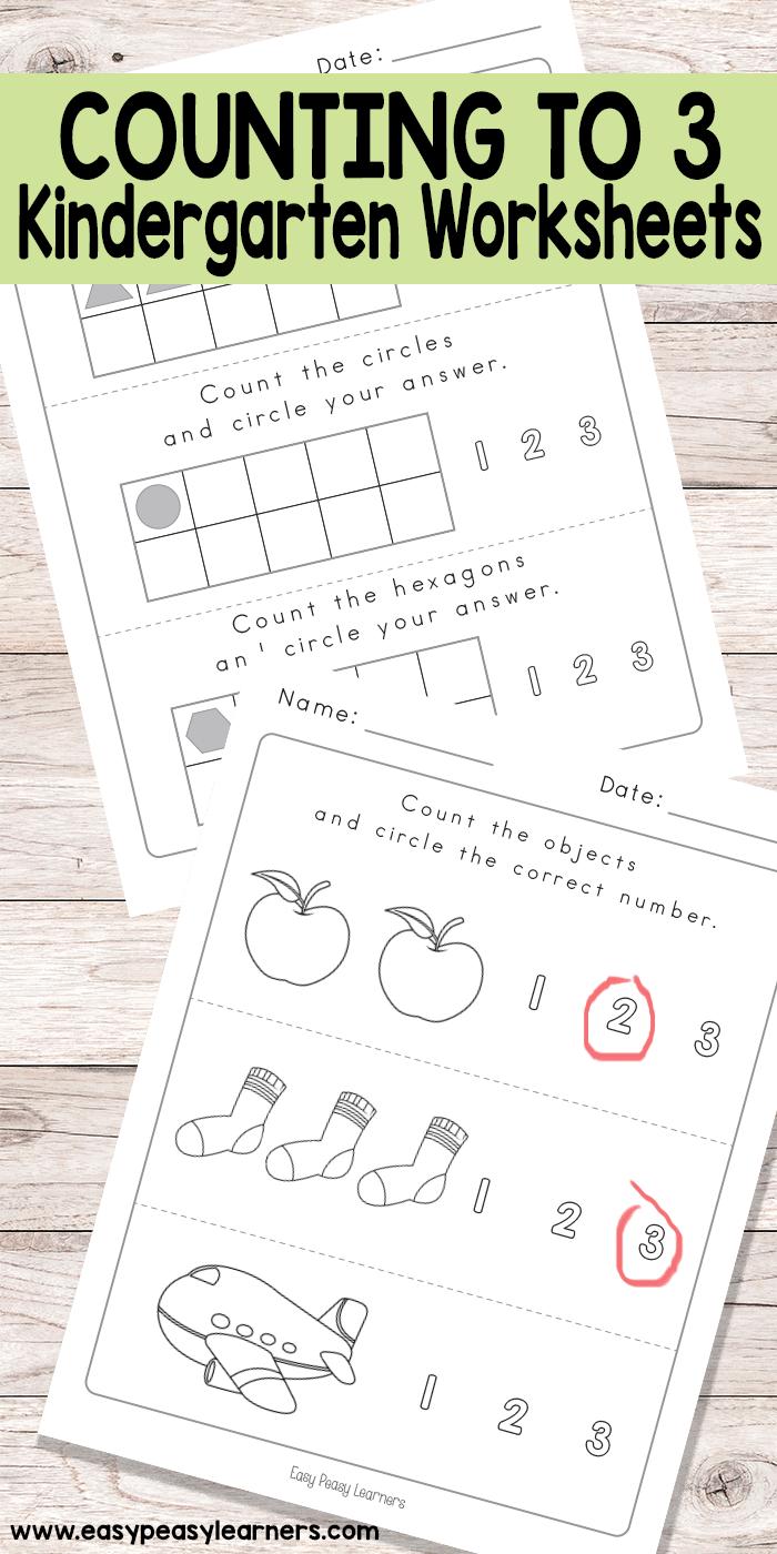 Counting to 3 Worksheets - Kindergarten Worksheets - Easy Peasy ...
