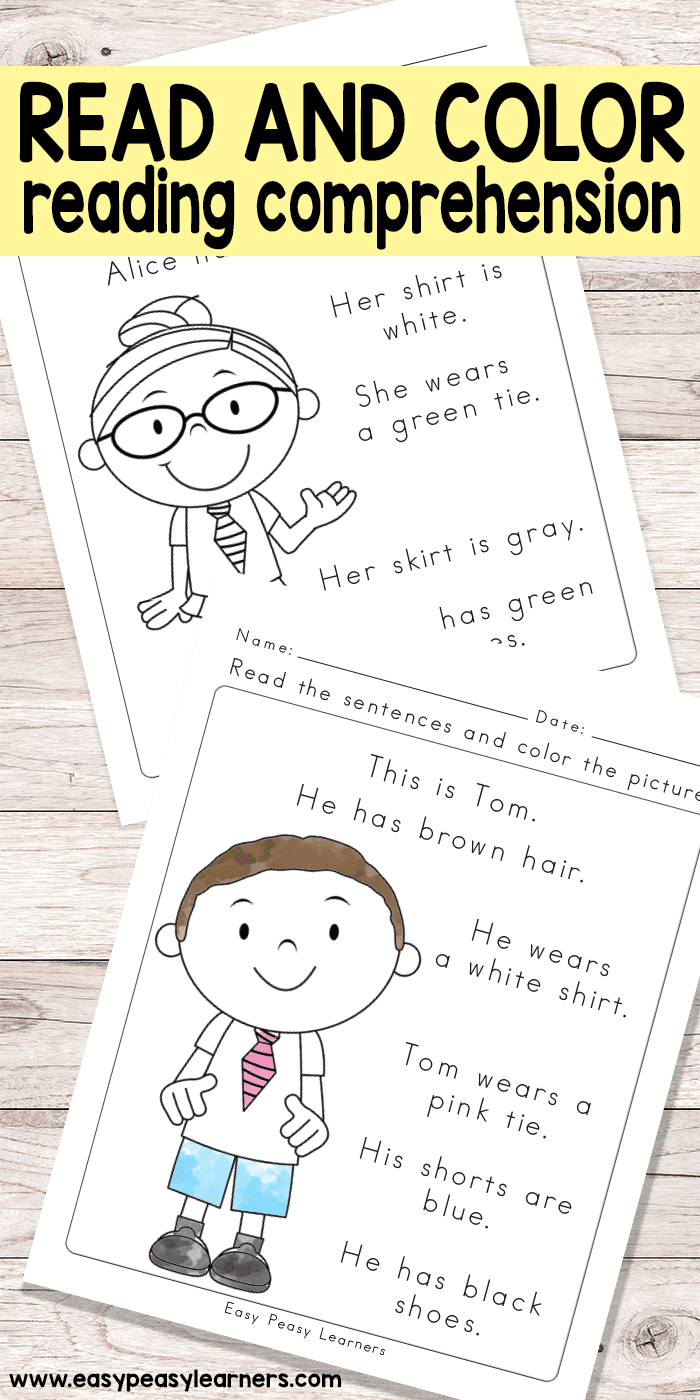 Read and Color Reading Comprehension Worksheets for Grade 1 and ...