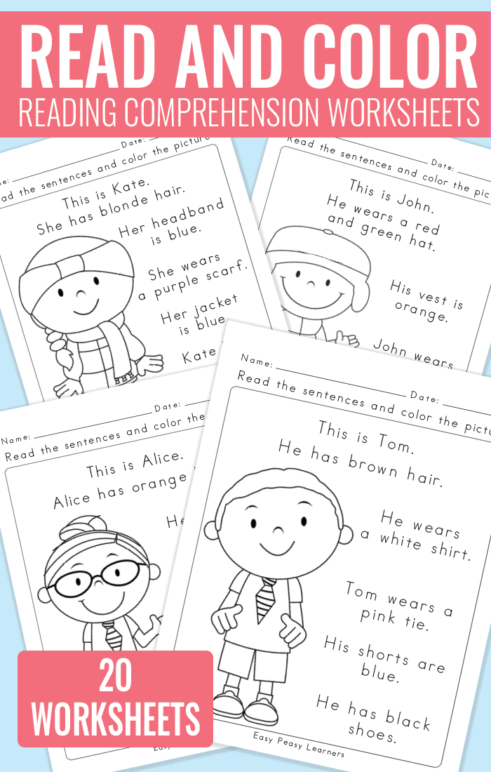 Printable Worksheets reading worksheets for grade 1 : Read and Color Reading Comprehension Worksheets for Grade 1 and ...
