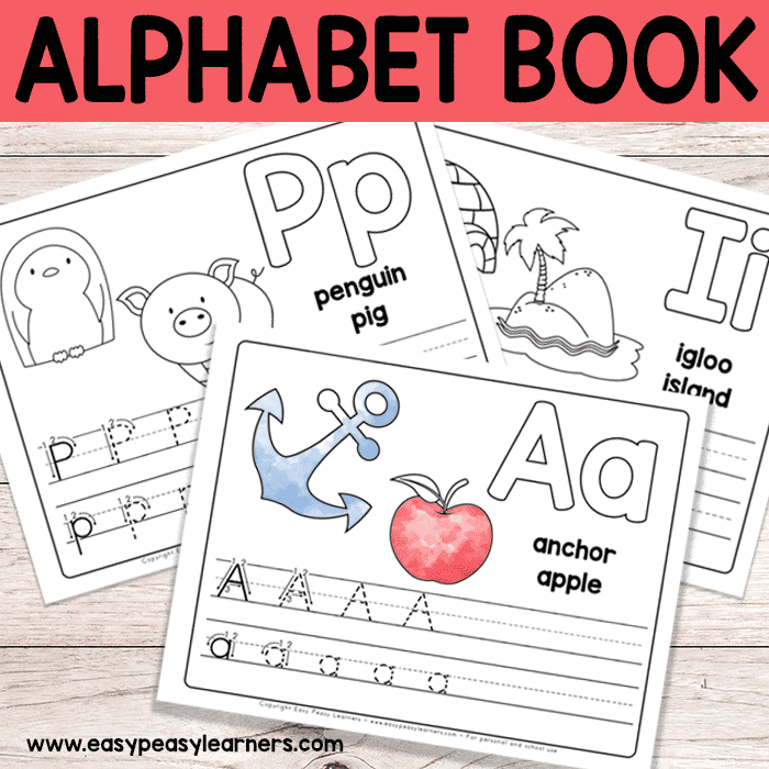 graphic about Free Printable Alphabet Books named No cost Printable Alphabet Guide - Alphabet Worksheets for Pre-K