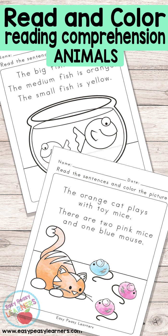 - Animals Read And Color Reading Comprehension Worksheets - Easy