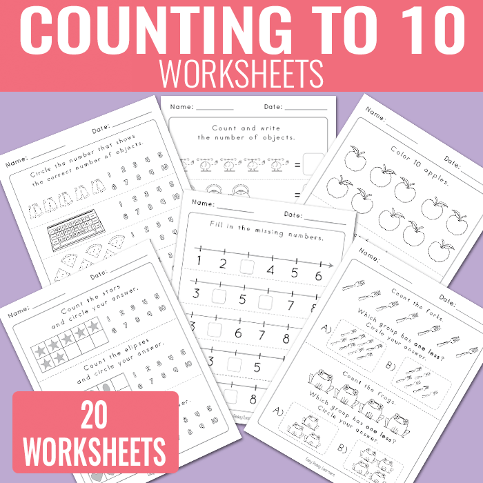Counting to 10 Kinergarten math Worksheets