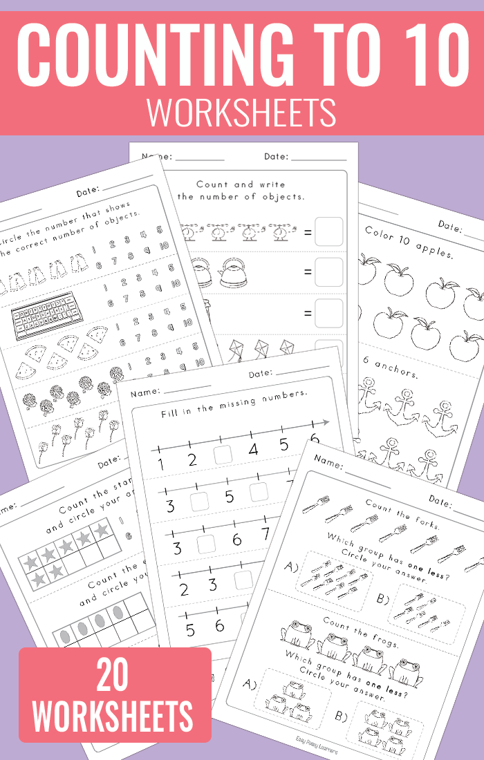 Counting to 10 Worksheets for Kindergarten (Math Worksheets)