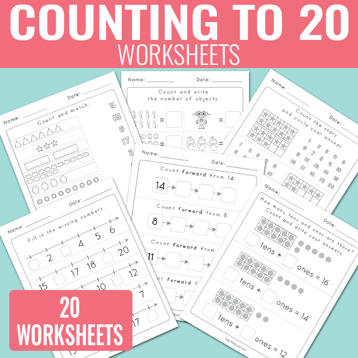 Printable Worksheets worksheets counting to 20 : Counting to 20 Worksheets - Kindergarten Math Worksheets - Easy ...
