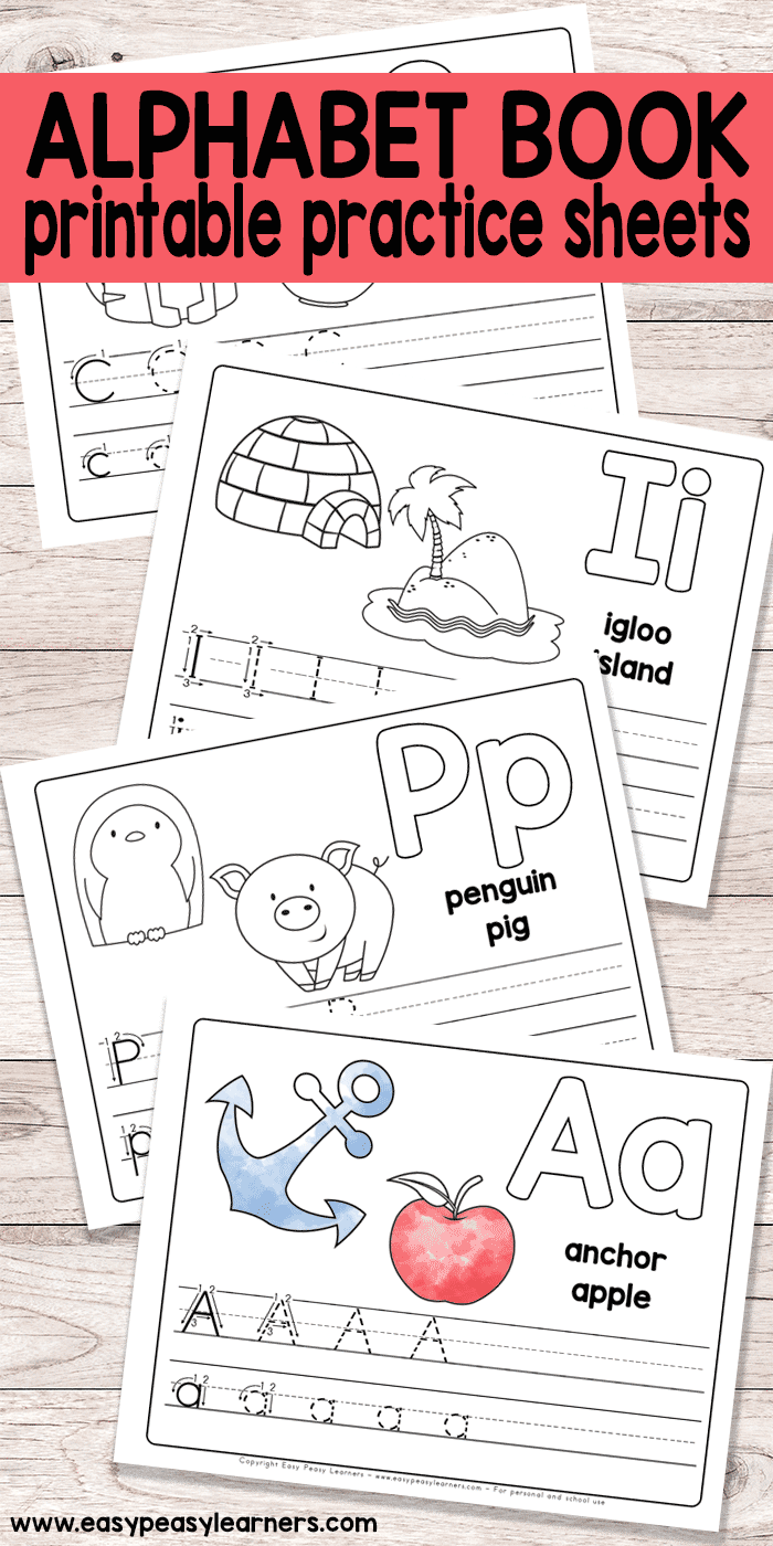 free printable alphabet book alphabet worksheets for pre k and k easy peasy learners. Black Bedroom Furniture Sets. Home Design Ideas
