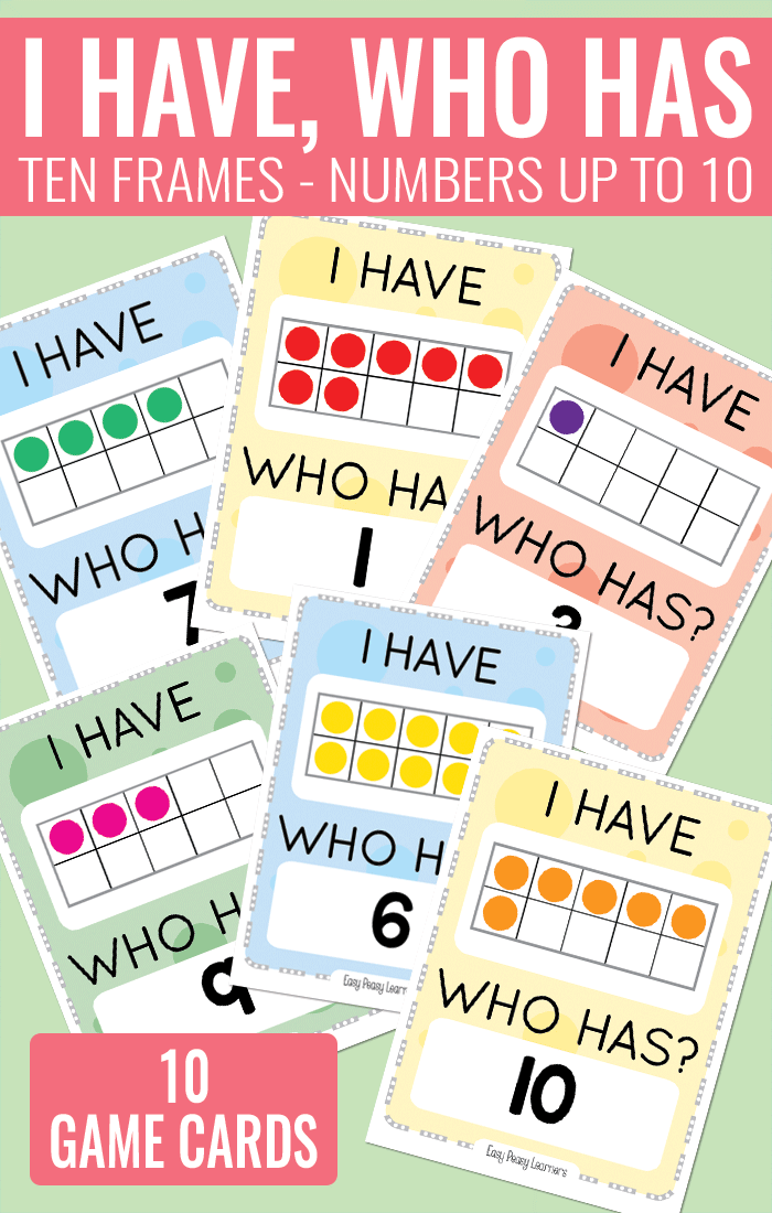 I Have Who Has Ten Frames Card Game with numbers up to 10