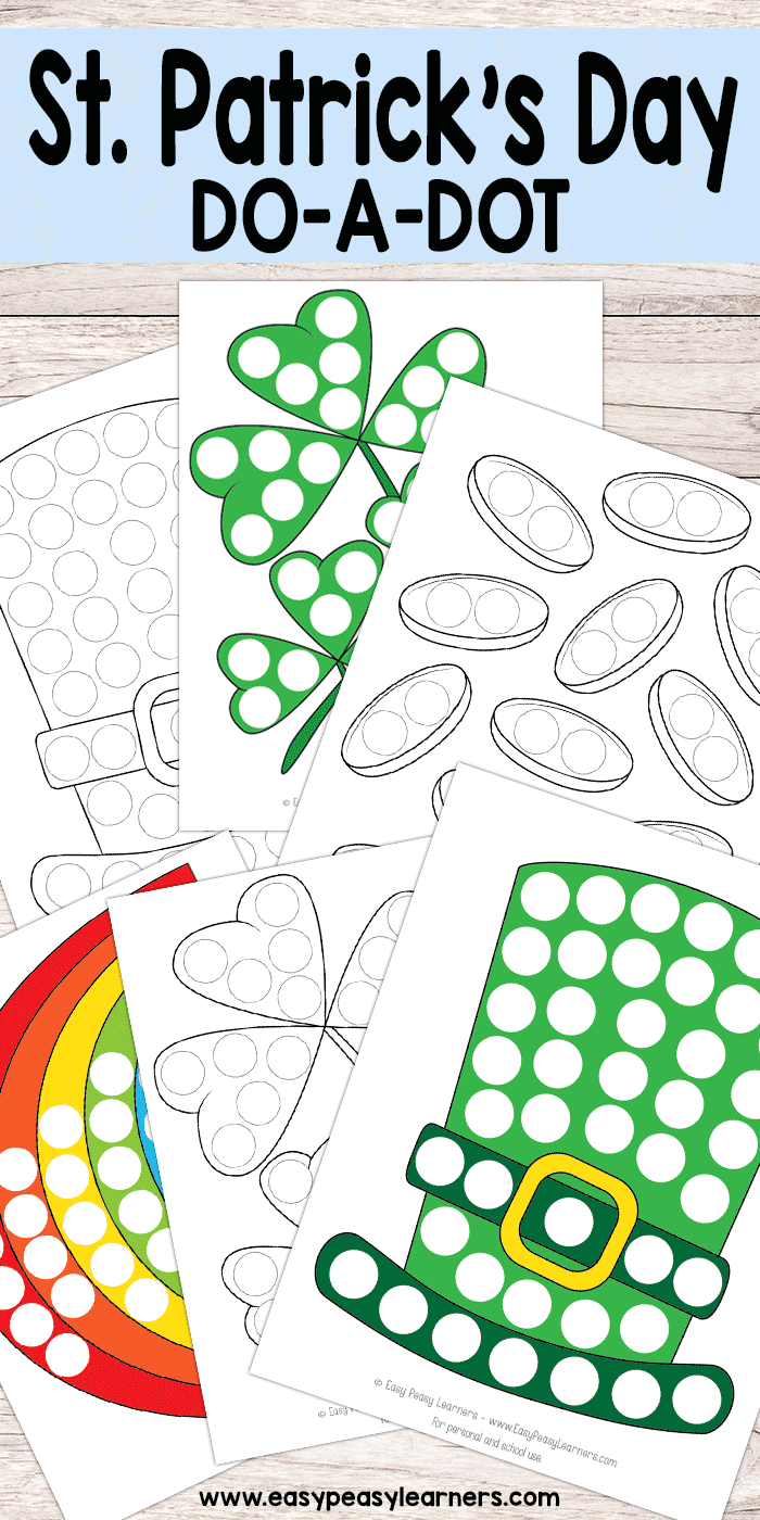 Free Printable St. Patricks Do a Dot Worksheets for Kids