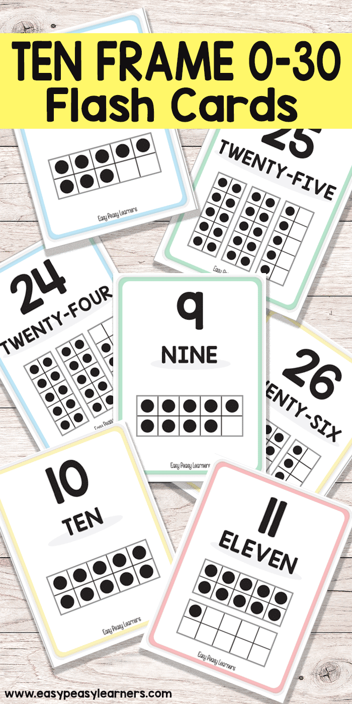 Printable Ten Frame Flash Cards - Easy Peasy Learners