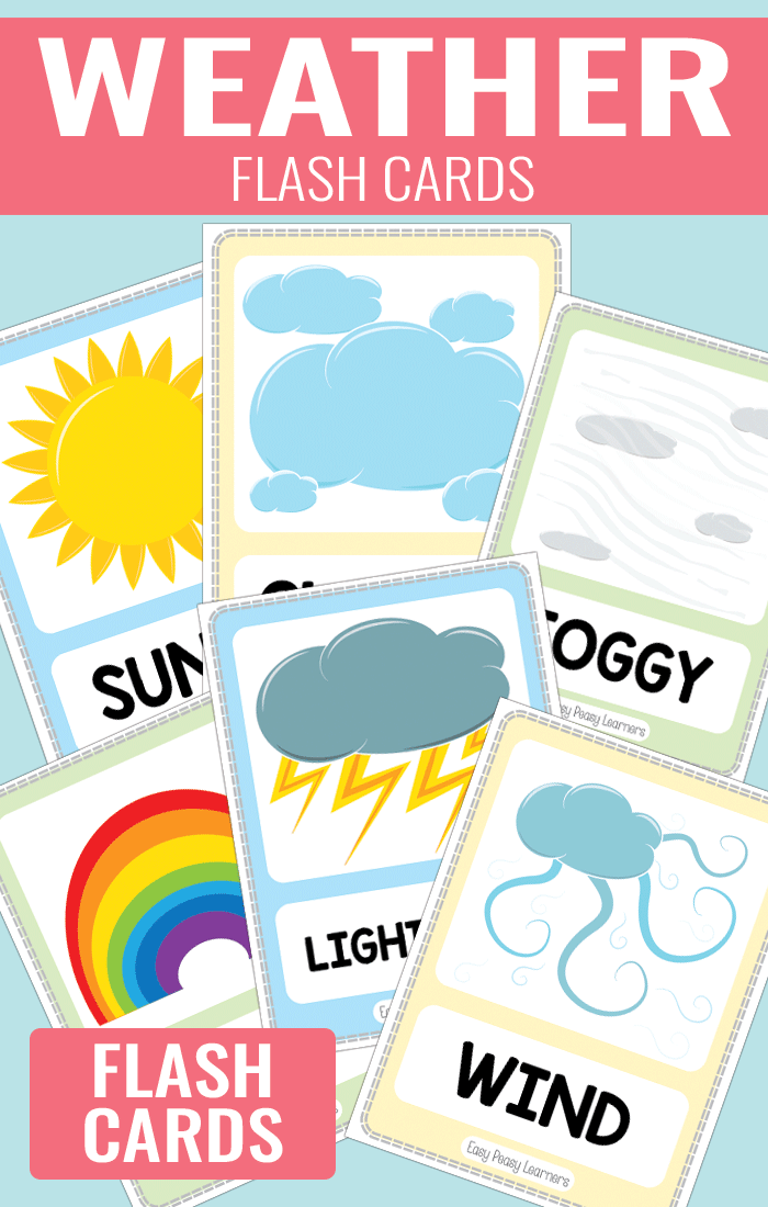 Free Weather Flash Cards for Kids