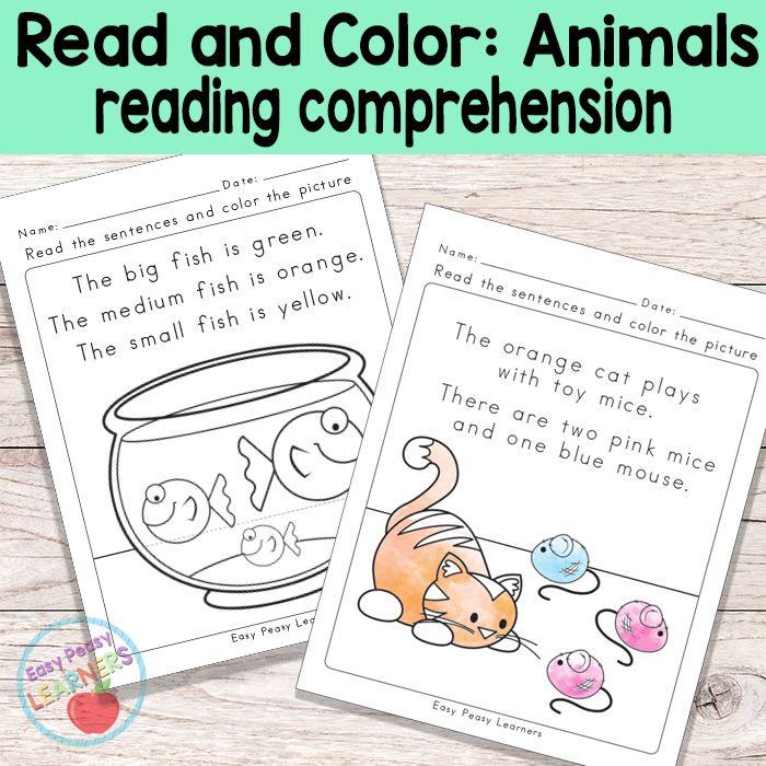 Animals Read And Color Reading Comprehension Worksheets - Easy Peasy  Learners