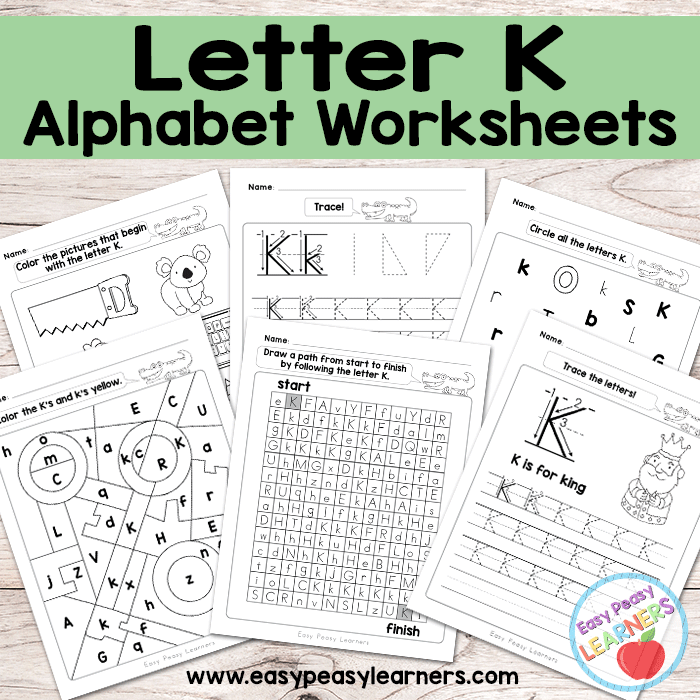 graphic regarding Letter K Printable known as Letter K Worksheets - Alphabet Collection - Simple Peasy College students