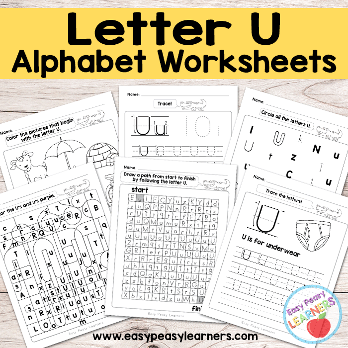 Alphabet Worksheets - Letter U