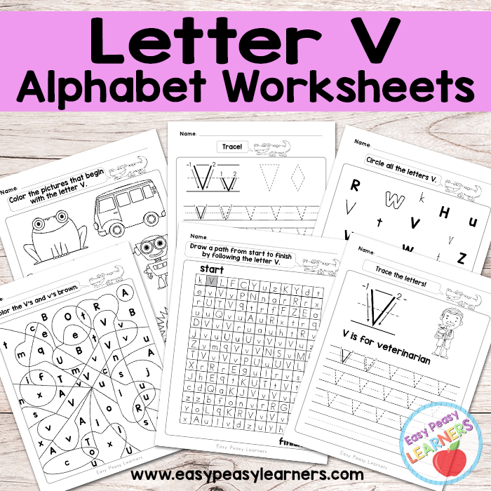 Alphabet Worksheets - Letter V