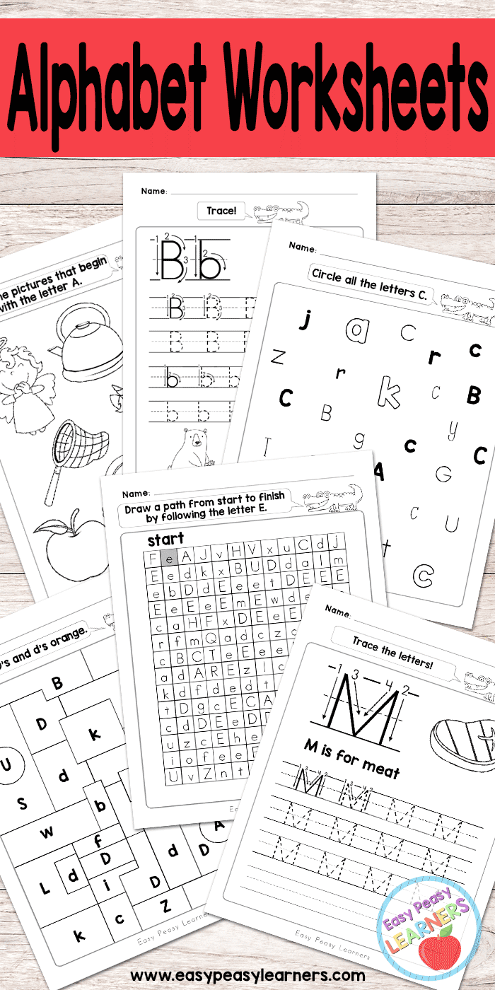 Alphabet Worksheets - ABC from A to Z - Easy Peasy Learners