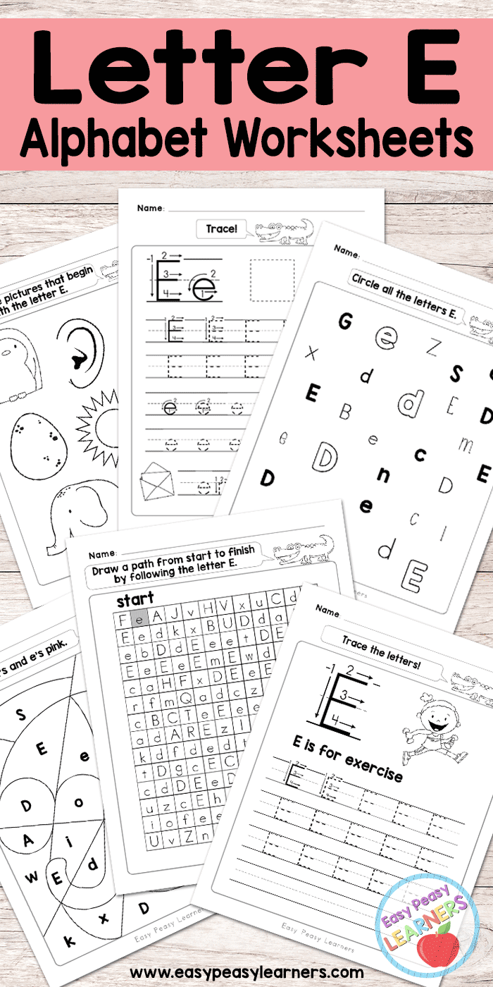 image relating to Letter E Printable identify Letter E Worksheets - Alphabet Sequence - Uncomplicated Peasy Students