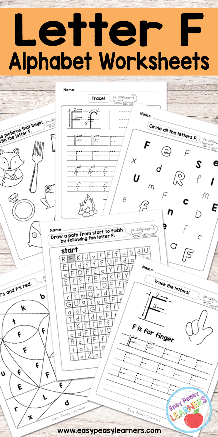 Letter F Worksheets Alphabet Series Easy Peasy Learners - View Letter F Worksheets For Kindergarten Pdf Images
