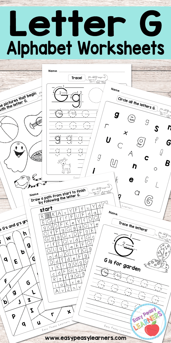 image regarding Letter G Printable named Letter G Worksheets - Alphabet Collection - Simple Peasy Students