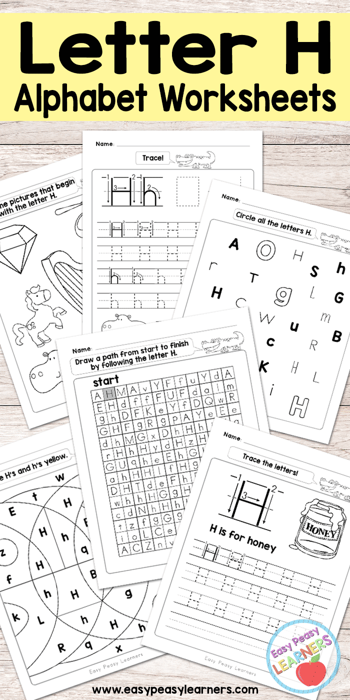 photo relating to Letter H Printable known as Letter H Worksheets - Alphabet Sequence - Straightforward Peasy Students