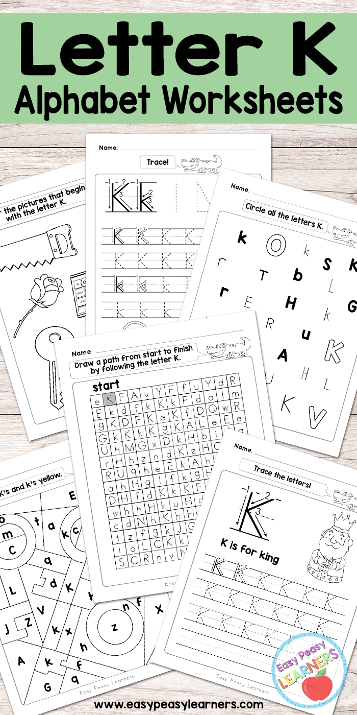 graphic about Letter K Printable named Letter K Worksheets - Alphabet Collection - Simple Peasy Pupils