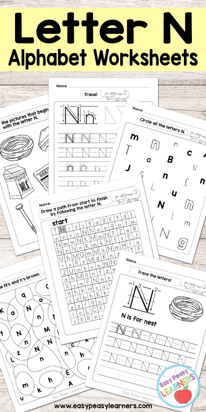 image regarding Letter N Printable known as Letter N Worksheets - Alphabet Sequence - Very simple Peasy College students