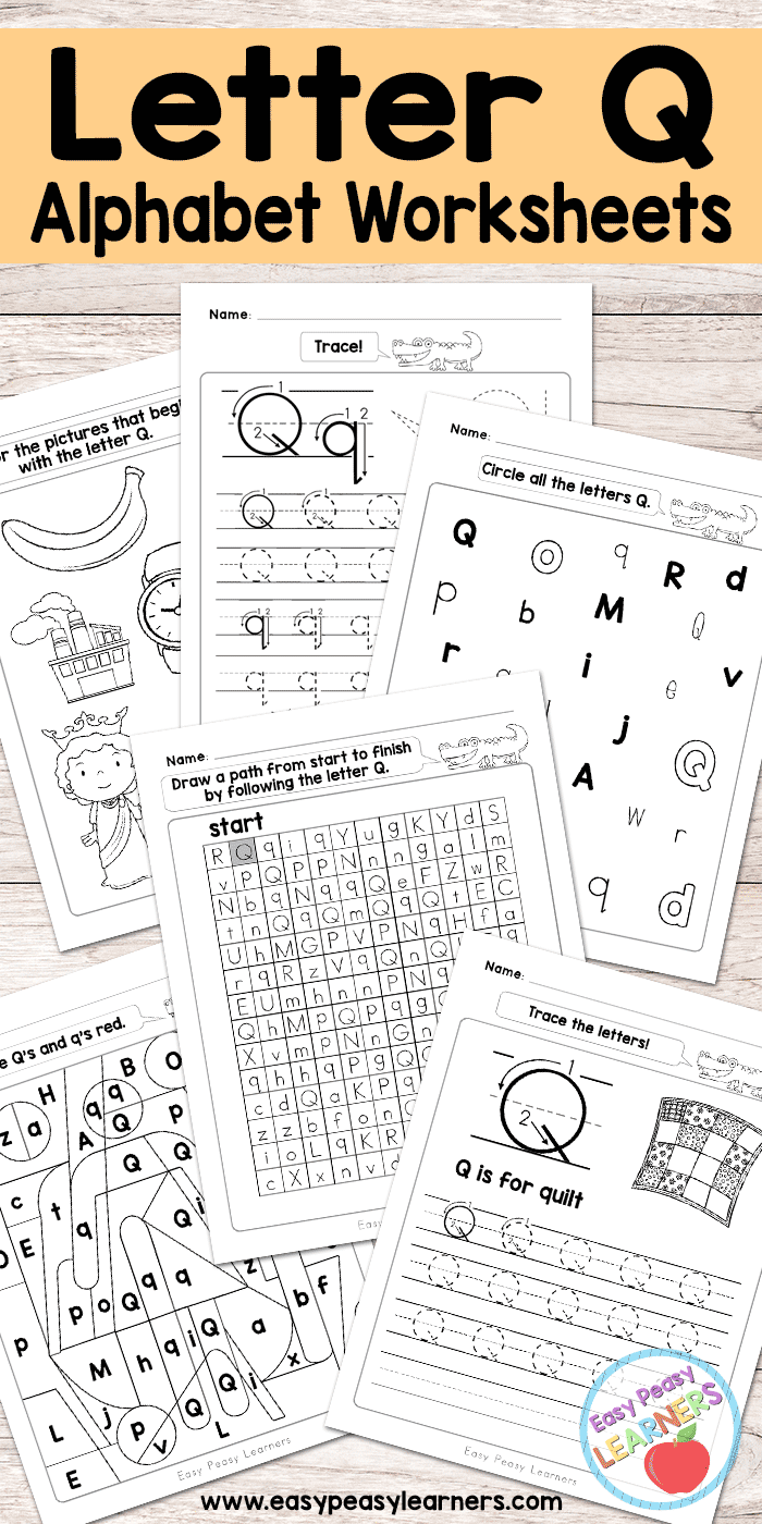 photograph relating to Letter Q Printable called Letter Q Worksheets - Alphabet Sequence - Uncomplicated Peasy Students