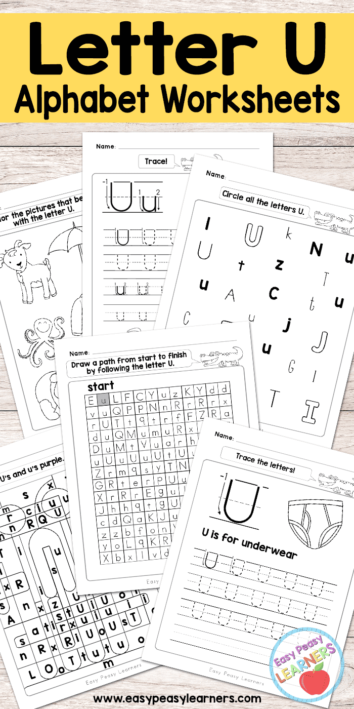 Letter U Worksheets Alphabet Series Easy Peasy Learners
