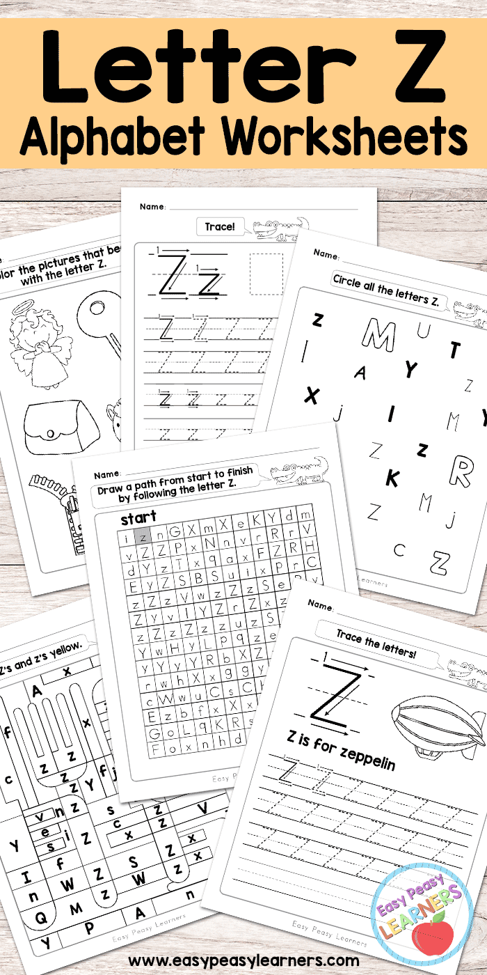 Letter Z Worksheets Alphabet Series Easy Peasy Learners
