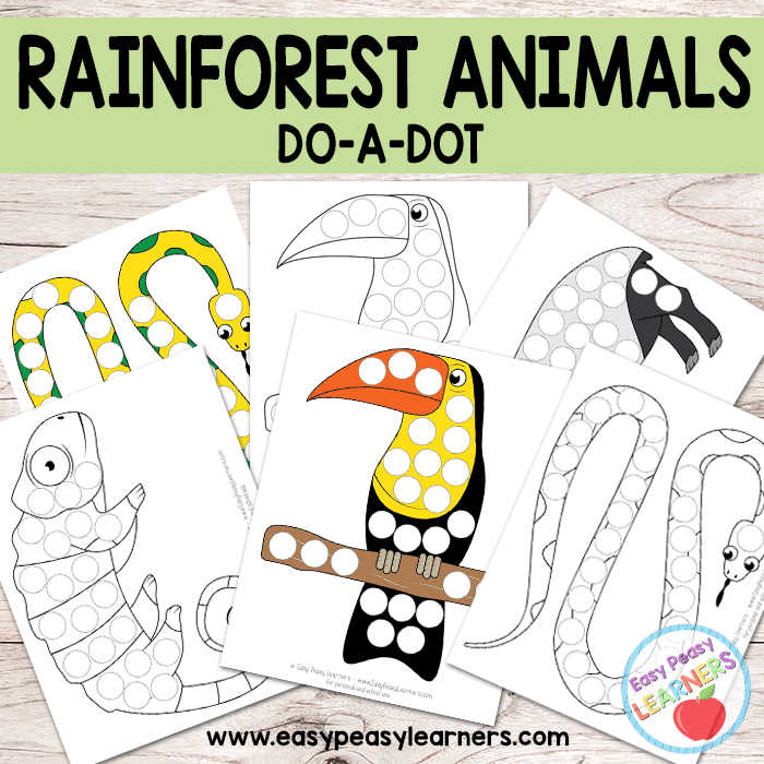 image about Rainforest Printable identify Totally free Rainforest Pets Do a Dot Printables - Straightforward Peasy
