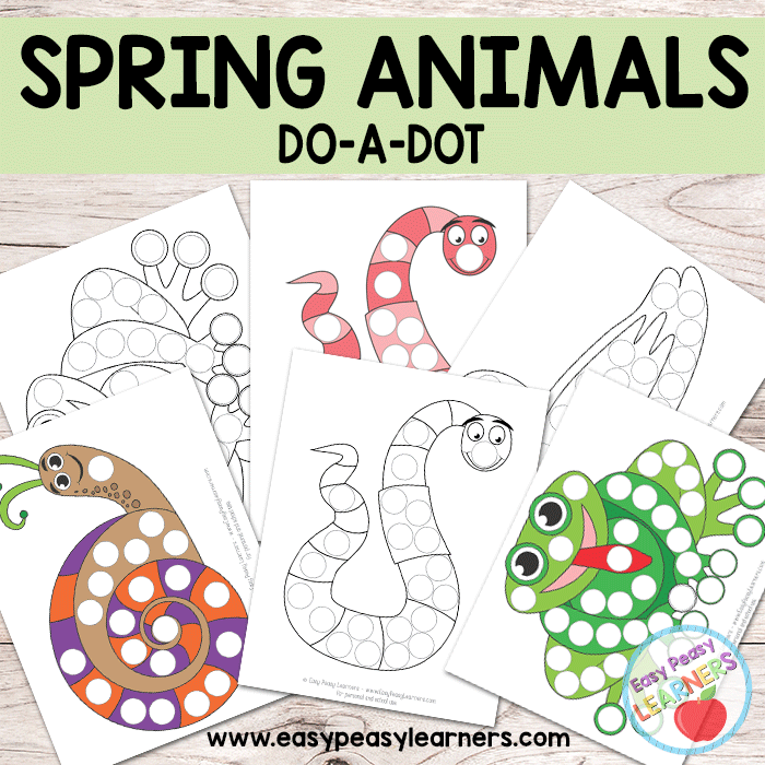 Spring Animals - Do a Dot Printables - frog, duck, worm and snail