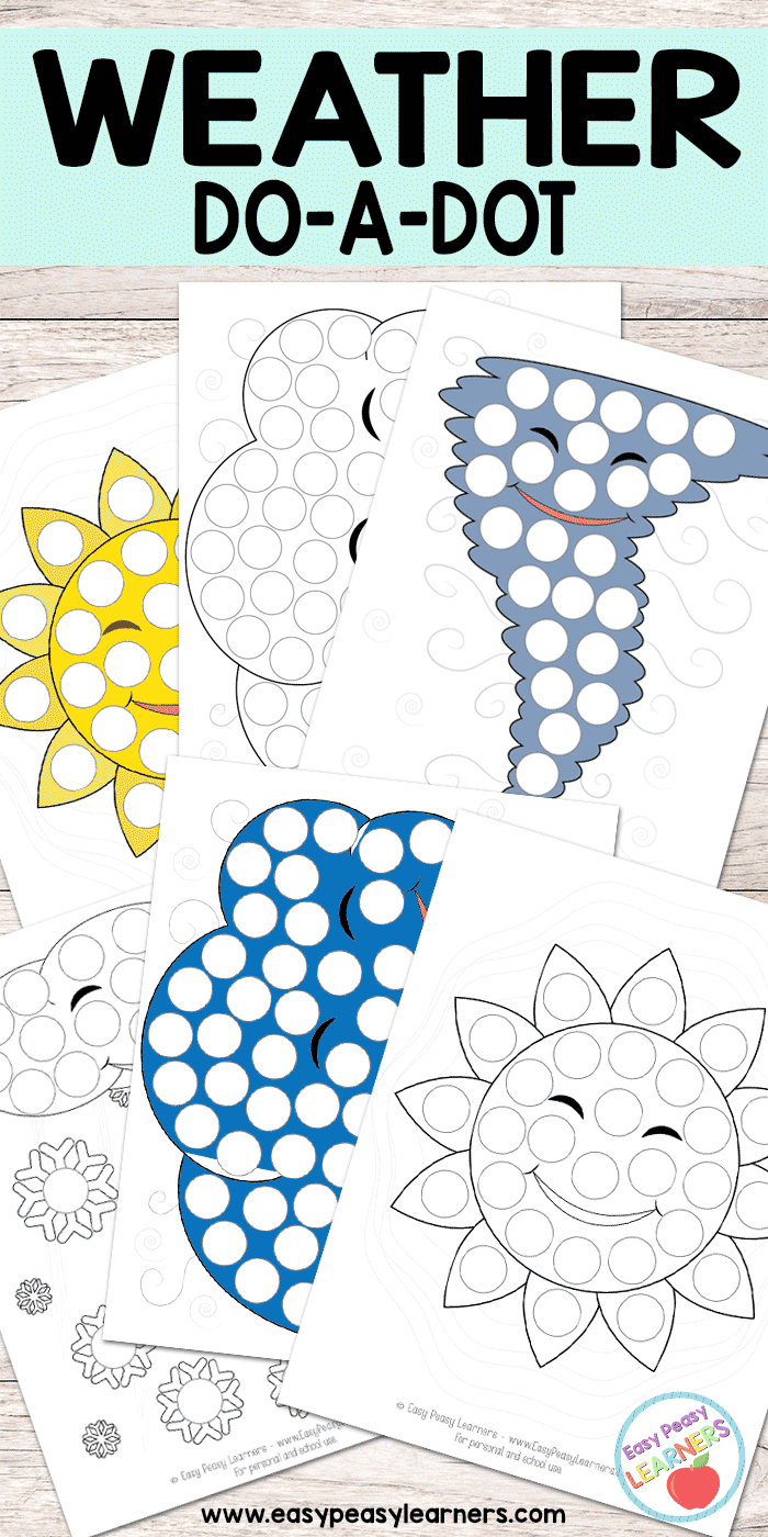Weather Do a Dot Printables - sun, cloud, tornado and snow