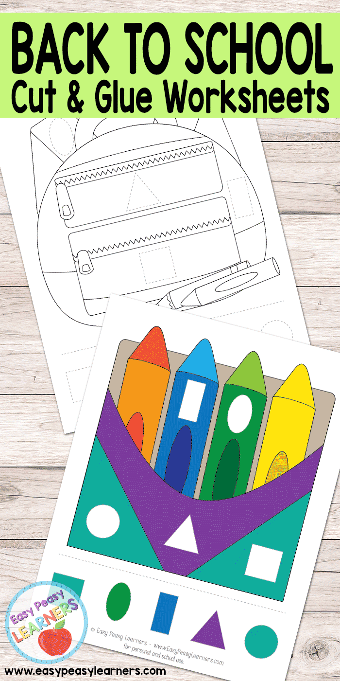 Back to School - Cut and Glue Worksheets