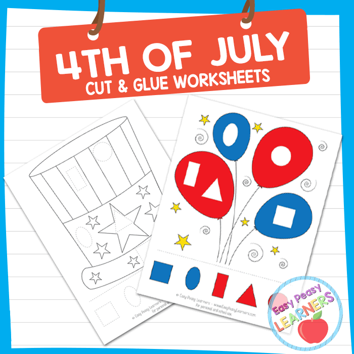 Lovely 4th of July Cut and Glue Worksheets