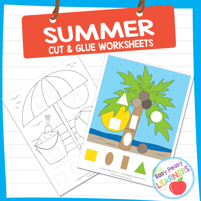 Lovely Summer Cut and Glue Worksheets