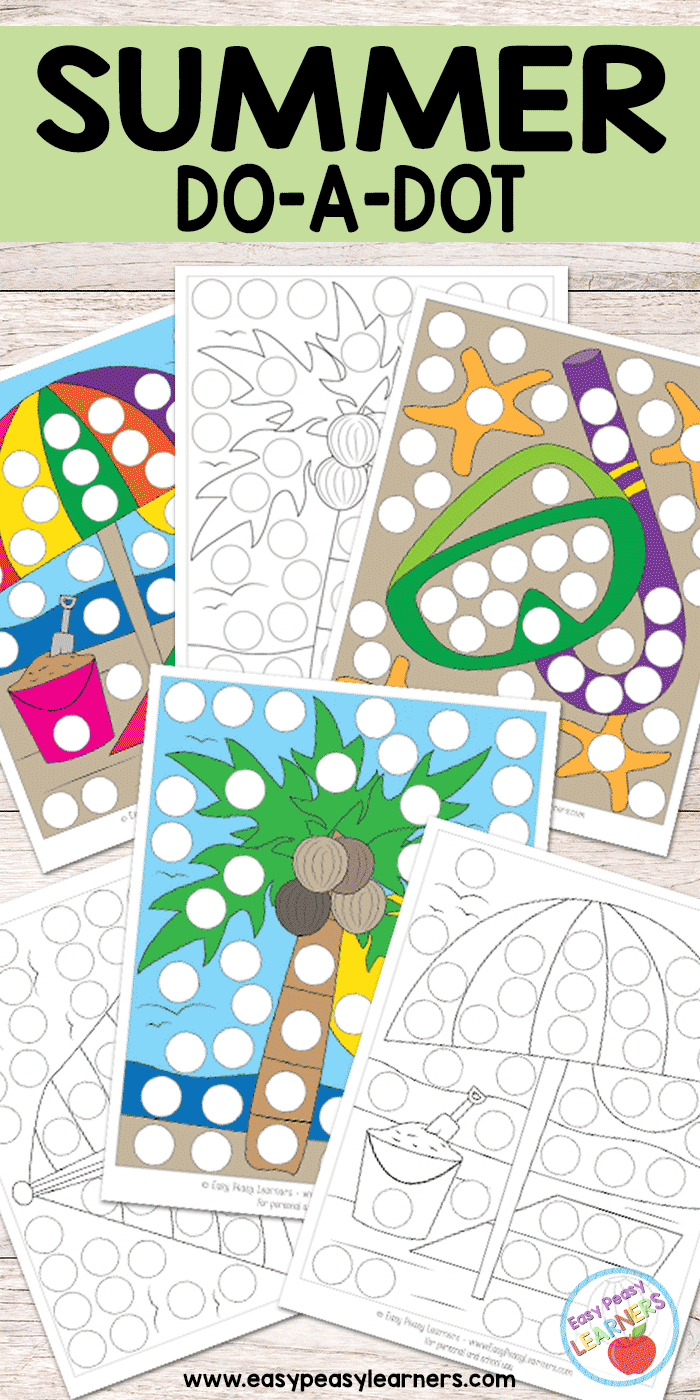 Free Summer Do a Dot Printables - Easy Peasy Learners